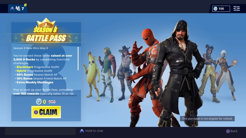 fortnite season 8 free battle pass